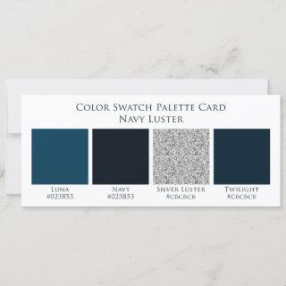 Navy Luster Blue Wedding Color Swatch Palette Card
