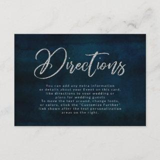 Navy Luster Dark Blue Silver Wedding Directions Enclosure Card