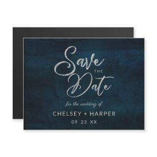 Navy Luster Dark Blue Silver Wedding Save the Date