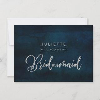 Navy Luster Silver Be My Bridesmaid Proposal Card
