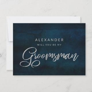 Navy Luster Silver Be My Groomsman Proposal Card