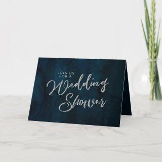 Navy Luster Silver Blue Couple's Wedding Shower Invitations
