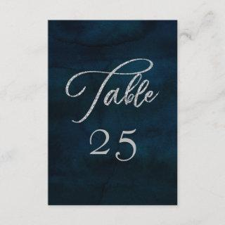 Navy Luster Silver Seating Wedding Table Numbers