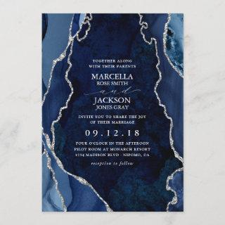Navy Marble & Silver Agate Wedding Invitations