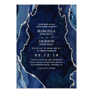 Navy Marble & Silver Agate Wedding Invitation