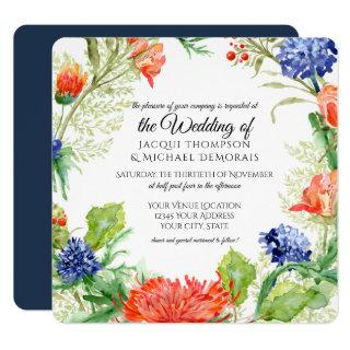 Navy n Orange Coral Mums Thistles Botanical Floral Invitations