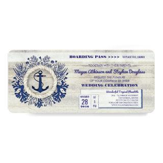 Navy Nautical Anchor Boarding Pass Wedding Ticket Invitations