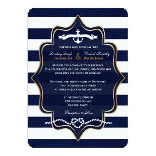 Navy Nautical, FAUX Burlap Stripes Wedding 2 Invitation