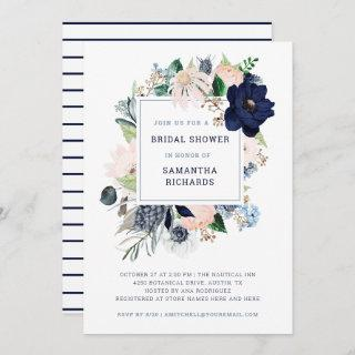 Navy Nautical Floral and Stripes | Bridal Shower Invitations