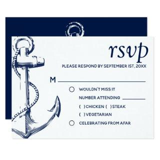 Navy Nautical Sketch Anchor | Meal Choice RSVP Invitation