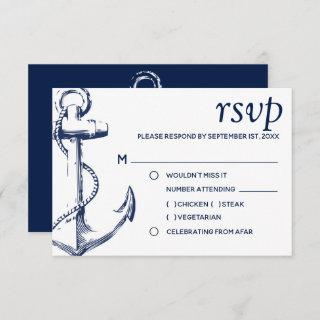 Navy Nautical Sketch Anchor | Meal Choice RSVP Invitations
