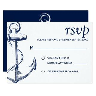 Navy Nautical Sketch Anchor | RSVP Invitation