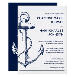 Navy Nautical Sketch Anchor Wedding Invitations
