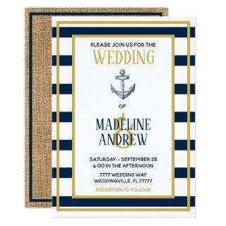 Navy Nautical Stripes Anchor Wedding Invitation