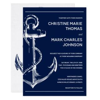 Navy Nautical White Ship Anchor Wedding Invitations