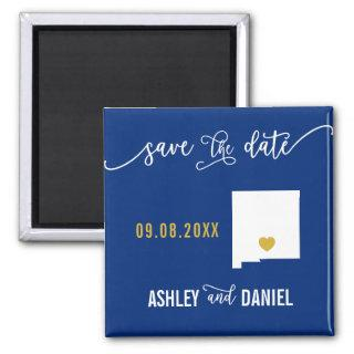 Navy New Mexico Wedding Save the Date Map Magnet