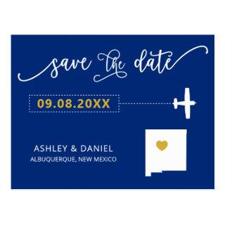 Navy New Mexico Wedding Save the Date Map Postcard