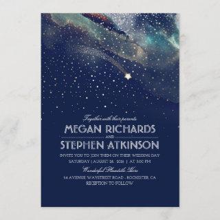 Navy Night Gold Shooting Star Elegant Wedding Invitations