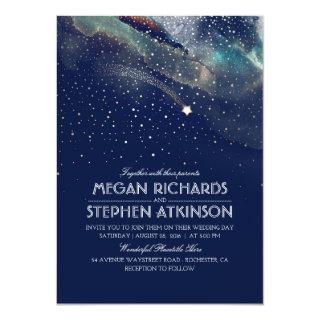 Navy Night Gold Shooting Star Elegant Wedding Invitation