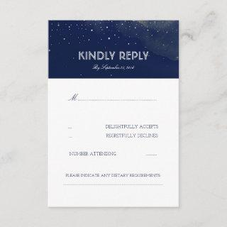 Navy Night Stars Elegant Wedding RSVP Card