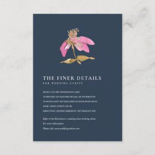 NAVY PINK CHERRY BLOSSOM FLORAL WEDDING DETAIL ENCLOSURE CARD