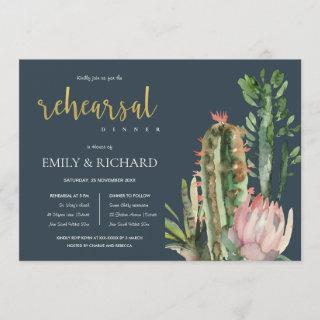 NAVY PINK FLORAL CACTI FOLIAGE REHEARSAL DINNER Invitations