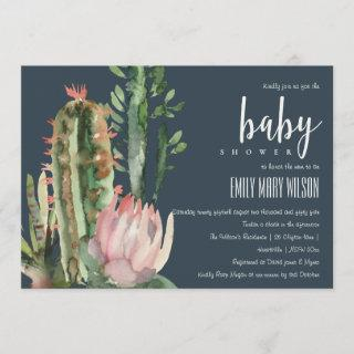 NAVY PINK FLORAL DESERT CACTI FOLIAGE BABY SHOWER Invitations