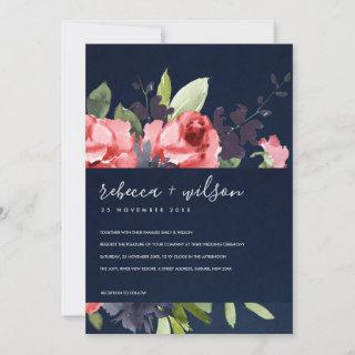 NAVY RED ROSE PEONY FLORA WATERCOLOR BUNCH WEDDING