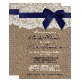Navy Ribbon On Burlap & Lace Bridal Shower Invitations