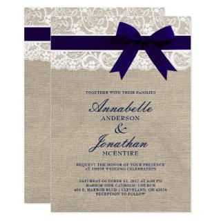 Navy Ribbon On Burlap & Lace Rustic Wedding Invitation