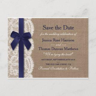 Navy Ribbon On Burlap & Lace Save The Date Announcement Postcard