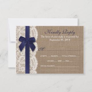 Navy Ribbon On Burlap & Lace Wedding RSVP
