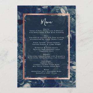 Navy Rose Gold Bouquet Wedding Menu