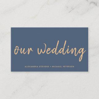 Navy rose gold modern wedding website typography enclosure card