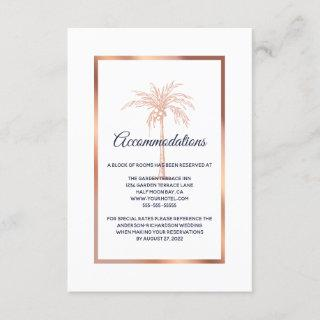 Navy Rose Gold Palm Tree Wedding Accommodation Enclosure Card