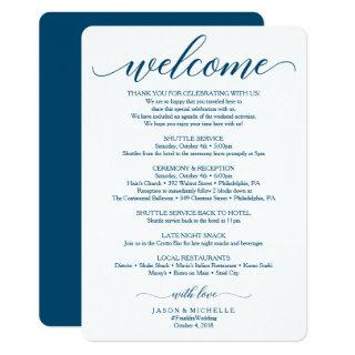 Navy Script Wedding Itinerary - Wedding Welcome Invitation