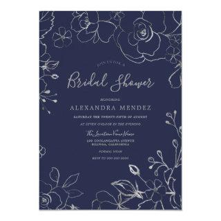 Navy & Silver Floral Modern Bridal Shower Invitations