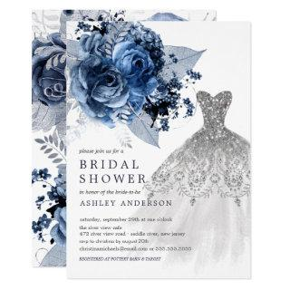 Navy & Silver Floral Wedding Dress Bridal Shower Invitations
