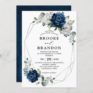 Navy Silver White Ivory Geometric Wedding Invitations