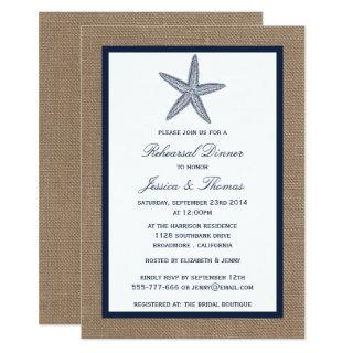 Navy Starfish On Burlap Beach Rehearsal Dinner Invitation