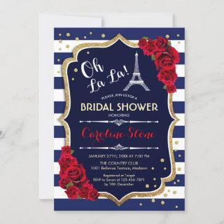 Navy Stripes Red Roses French Style Bridal Shower Invitations