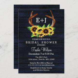 Navy Sunflowers Antlers Country Chic Bridal Shower