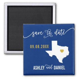 Navy Texas Wedding Save the Date Map Magnet