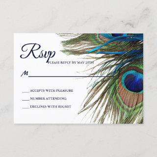 Navy Turquoise Peacock Feather Boho Wedding RSVP