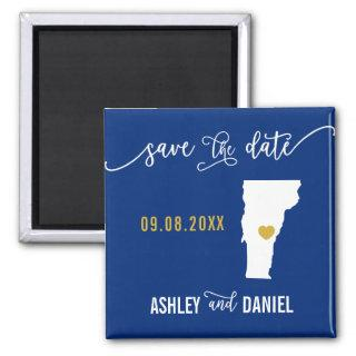 Navy Vermont Wedding Save the Date Map Magnet