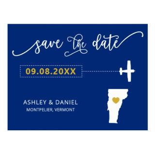 Navy Vermont Wedding Save the Date Map Postcard
