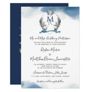 Navy Watercolor Crest and Blue Floral Wedding Invitations