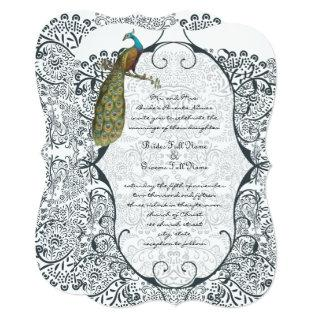 Navy Whimsical Peacock Love Bird Pattern Wedding Invitations
