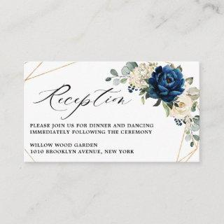 Navy White Champagne Ivory Geometric Reception Enclosure Card