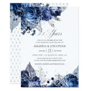 Navy & White Silver Foil 25th Wedding Anniversary Invitation
